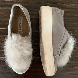 Steve Madden | Gray Suede PomPom Platform Sneakers